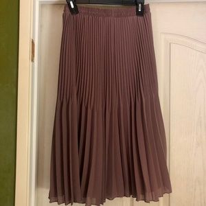 Dresses & Skirts - Stretchy Solid Flare Hem Pleated Midi Skirt